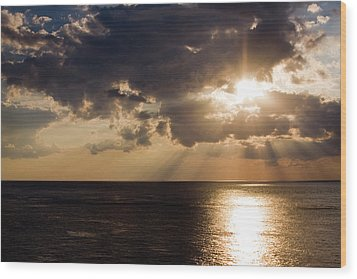 Sunset Over Gulf Of Mexico Wood Print