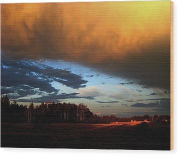 Sunset Over Hayfield Wood Print by Shirley Sirois