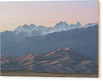 Sunset Over Star Dune And The Crestone Group Wood Print by Aaron Spong