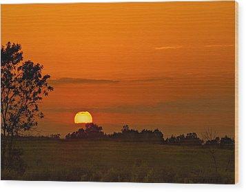 Sunset Over Horicon Marsh Wood Print by Steve Gadomski