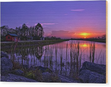 Sunset Over Hungryland Wildlife Management Area Wood Print