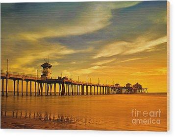 Sunset Over Huntington Beach Pier Wood Print