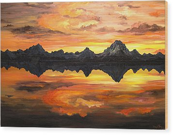 Sunset Over Jackson Lake And The Grand Tetons Wood Print