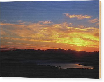 Sunset Over Lake Champlain From Mount Philo Wood Print by John Burk