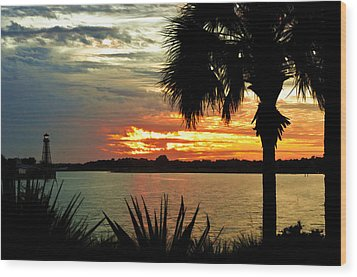Sunset Over Lake Sumter Landing Wood Print by Betty Eich