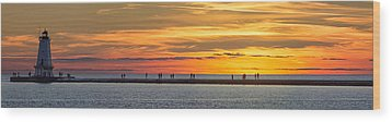 Wood Print featuring the photograph Sunset Over Ludington Panoramic by Adam Romanowicz
