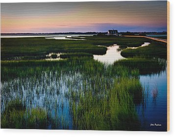 Sunset Over Marsh, Atlantic Beach, North Carolina Wood Print