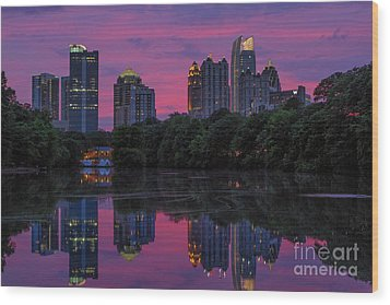 Sunset Over Midtown Wood Print by Doug Sturgess