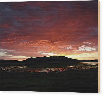 Wood Print featuring the painting Sunset Over Mormon Lake by Dennis Ciscel