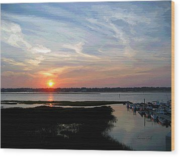 Sunset Over Murrells Inlet II Wood Print by Suzanne Gaff