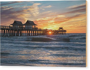 Wood Print featuring the photograph Sunset Over Naples Pier by Brian Jannsen
