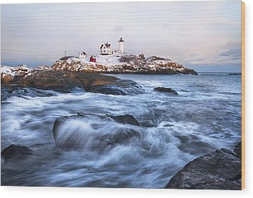 Sunset Over Nubble Light Wood Print by Eric Gendron