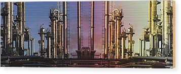 Wood Print featuring the photograph Sunset Over Oil And Gas Industry by Christian Lagereek