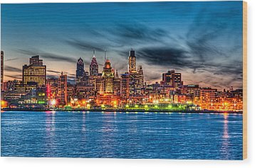 Sunset Over Philadelphia Wood Print by Louis Dallara