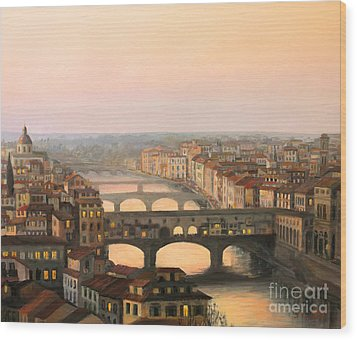 Sunset Over Ponte Vecchio In Florence Wood Print