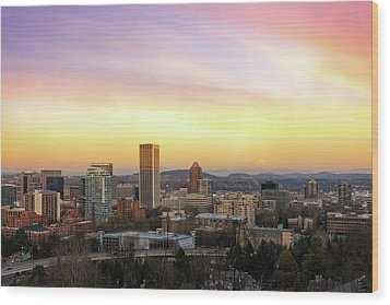 Sunset Over Portland Cityscape And Mt Hood Wood Print