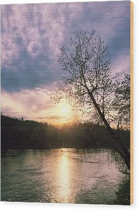 Sunset Over River Wood Print