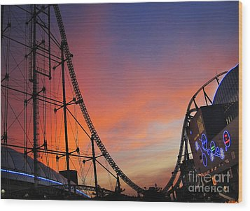 Sunset Over Roller Coaster Wood Print