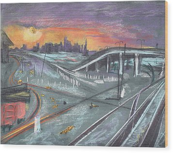Sunset Over San Francisco And Oakland Train Tracks Wood Print by Asha Carolyn Young