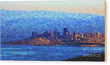 Sunset Over San Francisco Bay Wood Print by Wingsdomain Art and Photography