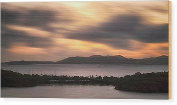 Wood Print featuring the photograph Sunset Over St. John And St. Thomas Panoramic by Adam Romanowicz