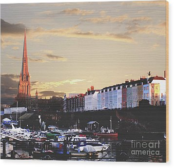 Wood Print featuring the photograph Sunset Over St Mary Redcliffe Bristol by Terri Waters