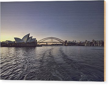 Sunset Over Sydney Harbor Bridge And Sydney Opera House Wood Print by Douglas Barnard