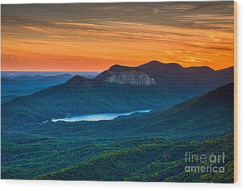 Sunset Over Table Rock From Caesars Head State Park South Carolina Wood Print by T Lowry Wilson