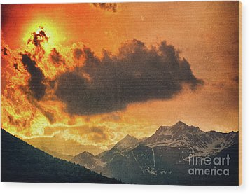 Wood Print featuring the photograph Sunset Over The Alps by Silvia Ganora