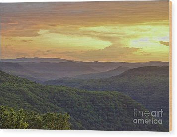 Wood Print featuring the photograph Sunset Over The Bluestone Gorge - Pipestem State Park by Kerri Farley