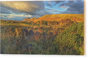 Sunset Over The Campsie Fells Wood Print by RKAB Works