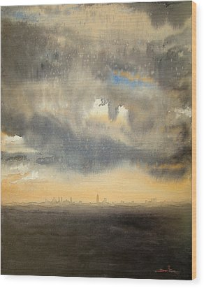 Wood Print featuring the painting Sunset Over The City by Andrew King