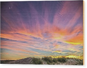 Sunset Over The Dunes Wood Print