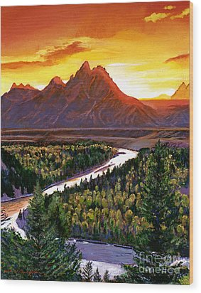 Sunset Over The Grand Tetons Wood Print by David Lloyd Glover