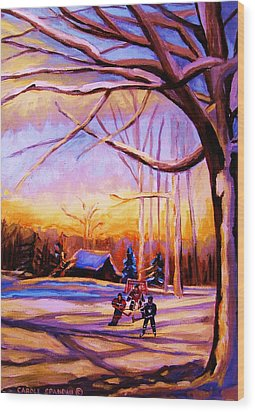 Sunset Over The Hockey Game Wood Print by Carole Spandau
