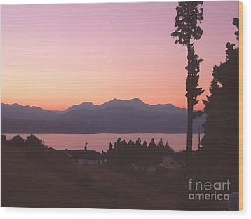 Sunset Over The Hood Canal In Washington State Wood Print