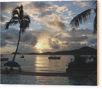 Sunset Over The Inifinity Pool At Frenchman's Cove In St. Thomas Wood Print
