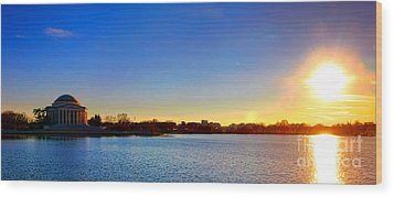Sunset Over The Jefferson Memorial  Wood Print