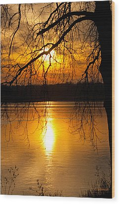 Sunset Over The Lake Wood Print by Edward Peterson