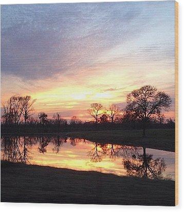 Sunset On The Lake Wood Print by Jen McKnight