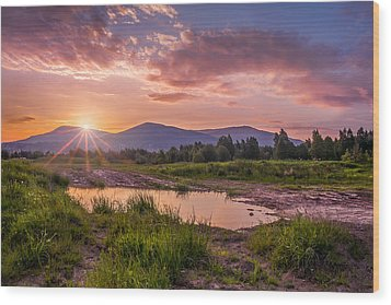 Sunrise Over The Little Beskids Wood Print