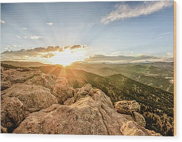 Sunset Over The Mountains Of Flaggstaff Road In Boulder, Colorad Wood Print