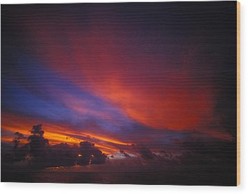 Sunset Over The Ocean Wood Print by Nick Norman