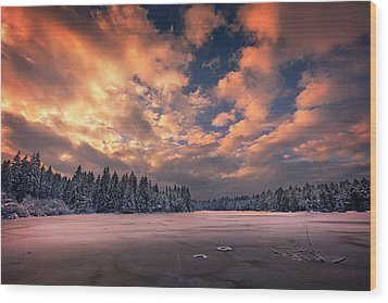 Sunset Over The Pound Wood Print