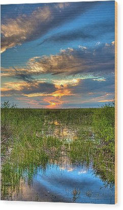 Sunset Over The River Of Grass Wood Print