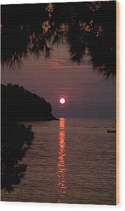 Sunset Over The Sea - Croatia Wood Print by Robert Shard