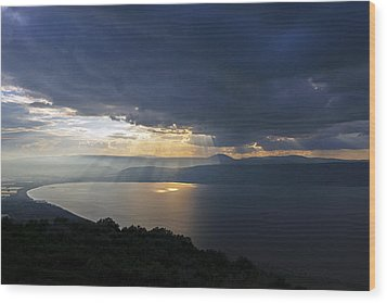 Sunset Over The Sea Of Galilee Wood Print