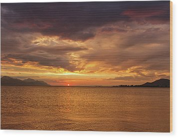 Sunset Over The Sea, Opuzen, Croatia Wood Print