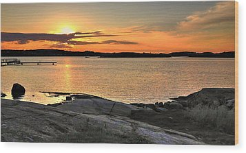 Sunset Over The Sound Wood Print
