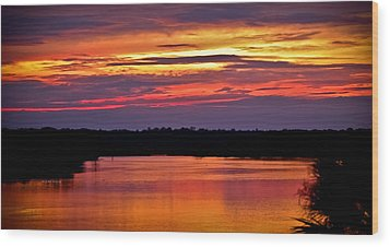 Sunset Over The Tomoka Wood Print by DigiArt Diaries by Vicky B Fuller